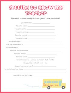 teacher survey for gift ideas. Helpful for the homeroom mothers to have Teacher Survey, Your Teacher, School Teacher, 1st Day Of School, School Fun, School Ideas, School Stuff, Teacher Treats, Teacher Gifts