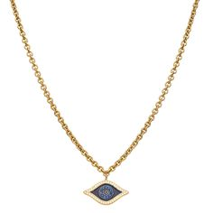 Deep-Seeing Lucky Eye Pendant Edged with white CZs, deep blue CZ eye on navy blue enamel.  This one-inch, 14 karat gold fill, lucky eye-shaped charm is a real looker. The eye-shaped amulet is edged with dazzling white cubic zirconia stones. From the center, a deep blue eye gazes out from a mysterious enamel opening.