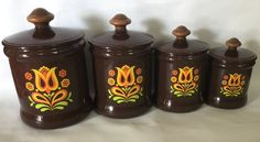Set of 4 Vintage West Bend Aluminum Canisters Brown by chriscre