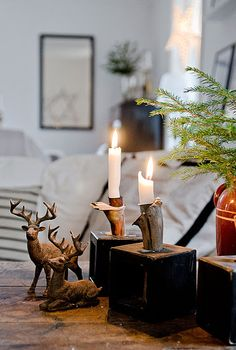 Classic christmas decor with natural materials and deer