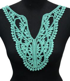 Turquoise Lace Crochet Applique Necklace Collar - For DIY Crafts You can sew on your t-shirt, blouse or even evening dress and wedding. Gorgeous item to add as a final touch to your craft. Color: turquoise Size: 38.5 cm length ___________________________________________________________ kbazaar.etsy.com  Thanx for visiting.
