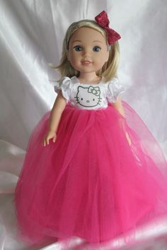 Hello Kitty Dress for 14inch American Girl Doll Wellie Wishers Clothes  #4faddens #dollclothes