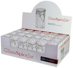 Grant Howard 50520 3.4-Ounce Cylindrical Clear Glass Spice Jar, Set of 24, Small by grant howard llc, http://www.amazon.com/dp/B0081EW366/ref=cm_sw_r_pi_dp_.Myesb1N02W8N