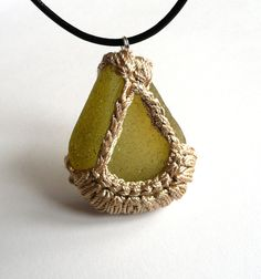 Boho sea glass necklace Rare light yellow olive pendant by astash English sea beach OOAK handmade Birthday summer autumn gift for her Hemp Jewelry, Textile Jewelry, Macrame Jewelry, Boho Jewelry, Jewelry Crafts, Jewelery, Handmade Jewelry, Crochet Stone, Bead Crochet
