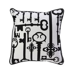Keys 18x18 Black White now featured on Fab. [Throw pillow, Room Service]