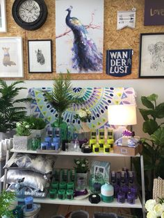 Blue, purple, teal and green visual merchandising, shop display at our Boronia Lavish Abode