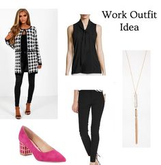 Houndstooth and pink heels for a work outfit that is stylish but fun! Click through for the outfit details and more!