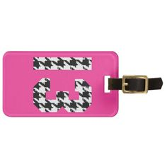 Houndstooth Lucky Number 13 Bag Tag