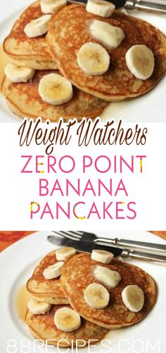 Light and fluffy, these pancakes are great on their own. However, sliced bananas, blueberries, chocolate Weight Watchers Pancakes, Weight Watchers Breakfast, Weight Watchers Desserts, Ww Recipes, Brunch Recipes, Dessert Recipes, Cooking Recipes, Pancake Recipes, Healthy Recipes
