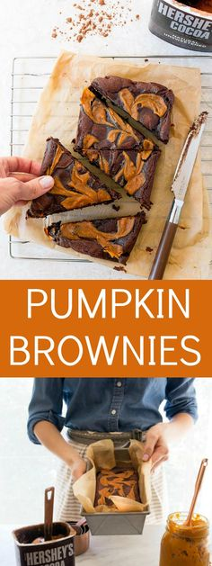 Pumpkin swirl brownies for two. A small batch of brownies that serves two. Recipe makes brownies for 2 or 3.