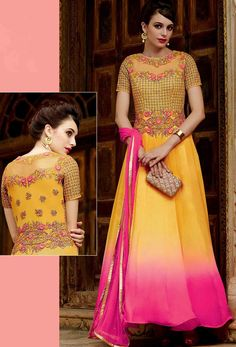 Semi Stitched Yellow And Pink Chiffon Anarkali Suit #chiffon #shalwarkameez #shalwar #partywear #salwarsuits #designer #anarkali #achkanstyle #abaya #bollywood #ceremonial #georgette #net #officewear #salwarkameez #suit #suitsonline #traditional #straightcut #fullsleeve #contemporary #womenwear #womenclothing #nikvik #usa #designer #australia #canada #malaysia #UAE #freeshipping.Sign up and get USD100 worth vouchers.price-US$117.39