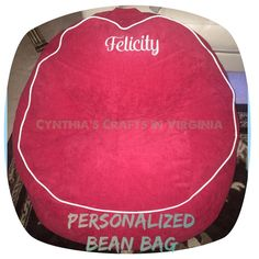 Personalized Bean Bag  #beanbag #embroidered #personalized #customembroidery #embroidery #cynthiascraftsinvirginia #bag #seat #bean