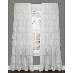 @Overstock.com - Lush Decor Ruffle White 84-inch Curtain Panel - Turn any room from ordinary to incredibly special when you add the Ruffle Window curtain. Featuring beautifully flowing layers of brushed poly with hand-constructed ruffle details, this feminine window treatment will work anywhere in your home.  http://www.overstock.com/Home-Garden/Lush-Decor-Ruffle-White-84-inch-Curtain-Panel/8372954/product.html?CID=214117 $53.99