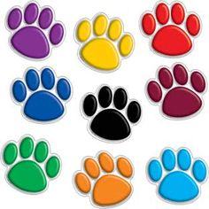 Colorful Paw Prints Mini Bulletin Board Accents by Teacher Created Resources Paw Patrol Birthday Girl, Paw Patrol Party, Paw Patrol Navidad, Paw Patrol Decorations, Birthday Cake Toppers, Just Giving, Rainbow Colors, Paw Prints, Mini