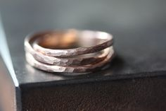 hammered 14kt rose gold filled stacking ring // Alexis Russell