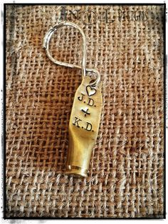 ~Love with a Bullet~    Got love with a bullet? Prove it with this Remington .223 Casing Key Fob personalized with the lovers initials ♥ Great gift