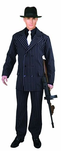 Great Group Halloween Costumes: The Addams Family - Charades Men's 6 Button Gangster (Gomez Addams) Suit, Black/White