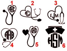 Nurse Monogram Decal (6 Options) on Etsy, $2.25