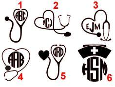 Nurse Monogram Decal (6 Options) on Etsy, $2.25