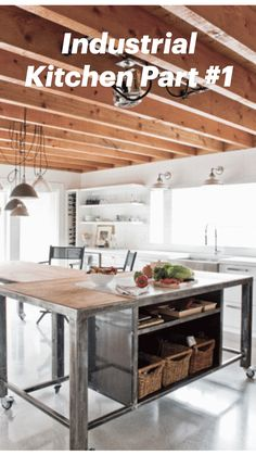 Industrial Kitchen Island, Kitchen Island Storage, Kitchen Island Table, Kitchen Island Lighting, Kitchen Islands, Industrial Kitchens, Island Bench, Kitchen Art, Kitchen Decor