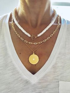 The white jade beaded necklace is a summer staple. The jade sparkles in the sunshine. As pictured, the necklace is but can be made any length. Cute Jewelry, Bridal Jewelry, Jewelry Necklaces, Layering Necklaces, Pearl Necklaces, Layered Necklace, Jewellery, Jewelry Trends, Jewelry Accessories