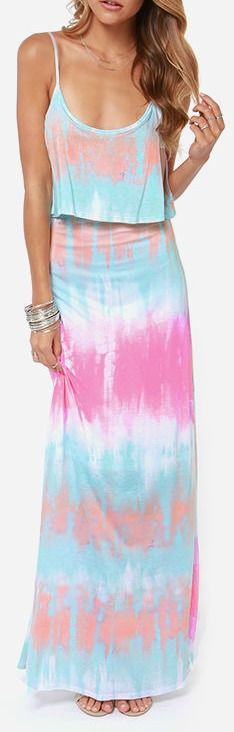 Never Say Tie-Dye Blue Maxi Dress