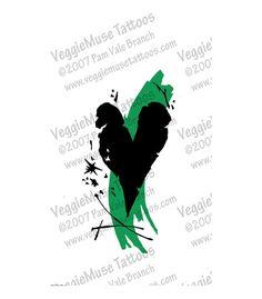 Tattoo Art Flash Design Trash Polka Heart by veggiemusetattoos, $12.95