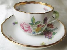 "1940s Czechoslovakian Hand Painted Demitasse Cup and Saucer,2 1/4""(5.5cm)H x 4 1/2""(11cm)W.Ships Worldwide 20.80,Mex 18.15,Can13,.35.US 9.80"