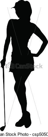 lady golfer vector silhouettes - csp5050527