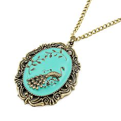 Wholesale Sweet Peacock Inlaid Parclose Alloy Necklace For Women (AS THE PICTURE), Necklaces - Rosewholesale.com