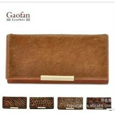 Free Shipping GaoFan shallow brown series is skin horse hair grows ladies wallet female wallet