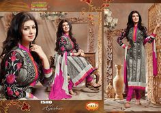 Ash Colored Cotton Unstitched Salwar-1412  Ash Colored Cotton High Neck EMB work F/s Semi Stitched Top and Pink Colored Cotton Pant with Double Colored Chiffon Dupatta.