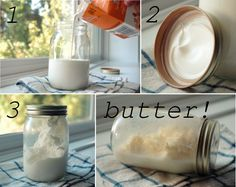 Mason Jar Homemade Butter – Shake It ! Mason Jar Crafts, Mason Jars, Homemade Butter, Real Homemade, Homestead Survival, Survival Skills, How To Make Cheese, Diy Food, Queso