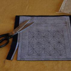 sashiko design fused to back of fabric