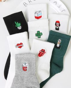 Funny Korean Women Girls Cute Cotton Crew Socks #Socks&Hosiery