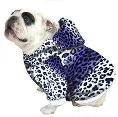 English Bulldog Hoodie Sweatshirt - Purple Leopard