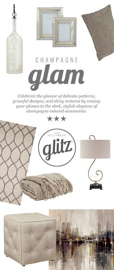 Show off your glitzy style with champagne colored accessories! So easy and chic! Hollywood Glitz™ - Champagne Glam Style - Ashley Furniture - #AshleyFurniture - #Glam #HollyoodGlitz