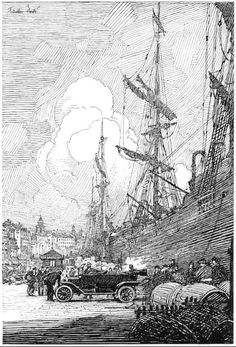 "Robert Franklin Booth - illustration from ""The Car That Went Abroad"" by Albert Bigelow Paine, Century Magazine ~ July and Ink Illustrations, Illustration Art, Franklin Booth, Ink Pen Drawings, Arte Horror, Pen Art, Wood Engraving, Painting & Drawing, Illustrators"