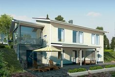 Selkeä ja tehokas pohjaratkaisu – Joona: 143 + 26 m², 5 makuuhuonetta, rinnetalo