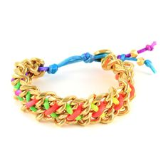 Ettika - Neon Satin Cord Double Chain Bracelet with Button Closure $63