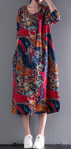 Women loose fit pocket dress maxi tunic summer casual large size graffiti flower #Unbranded #dress #Casual