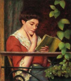 Reading by a Window (date not known). Federico Zandomeneghi(Italian 1841-1917).