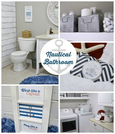 Nautical Bath Laundry Room Makeover - Before and After @Robert Hollow Cottage