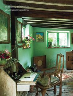 exposed beams and green walls, à la Virginia Woolf -World of Interiors Magazine