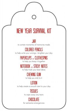 Free Printable: New Year Survival Kit Gift in a Jar - great gift idea for teachers, friends, neighbors. Can be delivered for Christmas or New Year's. Survival Kit Gifts, Survival Kit For Teachers, Teacher Survival, Survival Supplies, Survival Gear, Survival Videos, Survival Equipment, Survival Quotes, Teacher Birthday Gifts