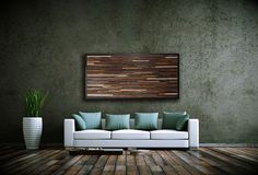 Reclaimed wood wall art as a use for my wood scraps and project leftovers? Etsy user has multiple designs including triptychs, vertical alignment, above beds/couches/staircases, etc.
