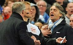Manchester United manager Sir Alex Ferguson accused Roberto Mancini of attempting to influence officials after a furious touchline bust-up with the Manchester City boss at the Etihad Stadium. Manchester City, Manchester United, Sir Alex Ferguson, Gentleman, Management, The Unit, Football, Sports, Soccer