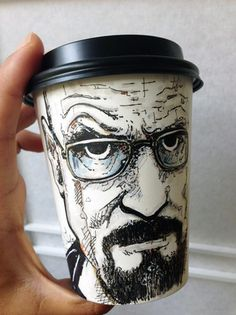 Paper Coffee Cup Art - Walter White from Breaking Bad more here: Illustrations, Art And Illustration, Breaking Bad, Bad Fan Art, Coffee Cup Art, Posca Art, Inspiration Art, Arte Pop, Art Plastique