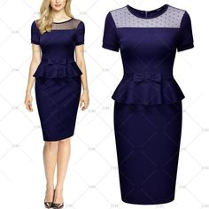 """This is a lovely 1950's inspired look business/formal dress. The dress is navy blue, made from cotton, spandex and polyester, has short sleeves, a rounded neck line, and a zipper in back.    This item ships within seven (7) days.    It is available in US Sizes 4 - 18 with the following measurements:    Small, US 4 - 6: Bust 32.3""""- 34.7"""", Waist 27.6"""", Dress Length 39.4""""    Medium, US 8: Bust 34.2"""" - 36.6"""", Waist 29.5"""", Dress Length 40.2""""    Large, US 10: Bust 36.2""""- 38.6"""", Waist 31.5""""…"""