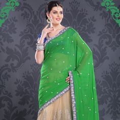 #Green #Saree with Blouse
